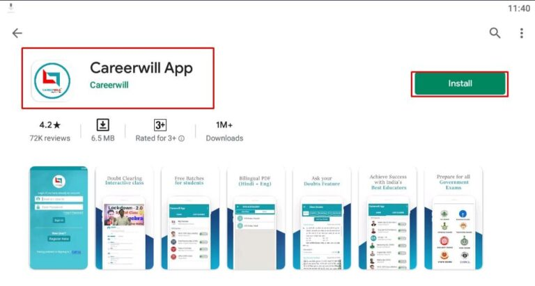Careerwill App in android
